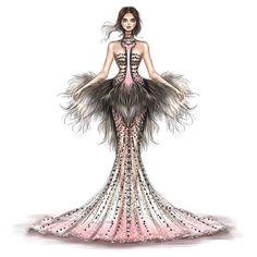 Ostrich gown Fashion Drawing Dresses, Fashion Illustration Dresses, Fashion Design Drawings, Fashion Sketches, Fashion Art, Fashion Outfits, Illustration Mode, Dress Sketches, Fashion Figures
