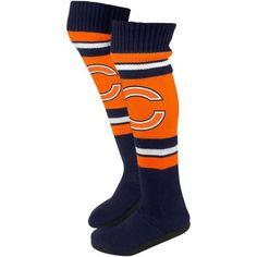 Chicago Bears Ladies Knit Knee Slipper Socks - Orange/Navy Blue