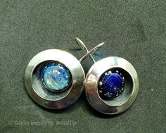 Handmade glass cabochons trapped in sterling silver