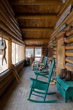 Love the colors on this rustic cabin porch