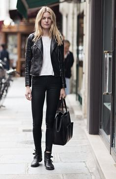 Black leather moto jacket, white tshirt, black skinny jeans, black boots, and black purse.