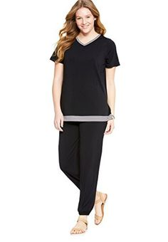 """A sporty-chic pantset with a striped trim detail you'll love. Top in a relaxed fit 28"""" length ends below hip with V-neck with color striped trim set-in armholes back yoke side slits trim at the hemline Pants 29"""" inseam full-length pants elastic waist side seam pockets elastic cuff... more details available at https://perfect-gifts.bestselleroutlets.com/gifts-for-women/clothing-shoes-jewelry-gifts-for-women/product-review-for-woman-within-womens-plus-size-sporty"""