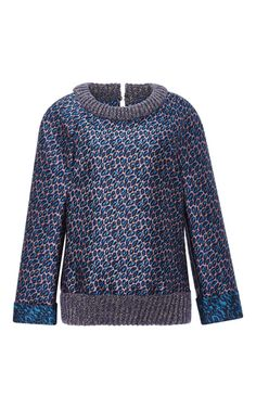 Leaf Jacquard Top With Knit Ribbing by MONIQUE LHUILLIER for Preorder on Moda Operandi