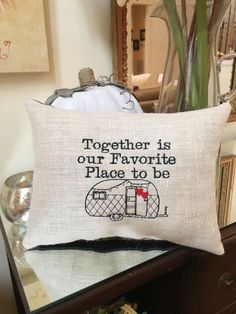 Camper RV Pillow, Hearts Love Burlap Throw Pillow, Camping Theme Gift, Together is our Favorite Place to be, Snowbird, Travel Trailer