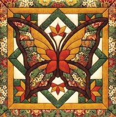 Make this fall butterfly quilt magic kit without having to sew or glue. Quilt Block Patterns, Quilt Blocks, Quilting Projects, Quilting Designs, Quilting Templates, Embroidery Designs, Embroidery Stitches, Butterfly Quilt Pattern, Butterfly Kit