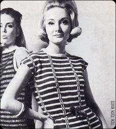 "No.175 PDF Vintage Knitting Pattern Women's Slip Stitch Shift - Curve Hugging Dress Stripe Pattern - Size 36.5"", 38"", 40"" - Instant Download"