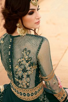 Dark Green Color Georgette Fabric Traditional Party Wear Designer Indian Women Fashion Embroidered Anarkali