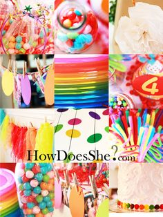 Tons of Rainbow themed birthday party ideas! Howdoesshe.com