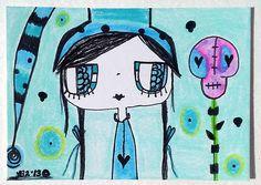 Original Aceo Big Eye GiRL BESTIES Skull Flower Garden Deco Aqua L Brucato