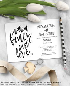 Elopement reception invitation, nothin fancy just love, elopement card, wedding reception only, printable, wedding ideas, modern,DIY, A7,DS5