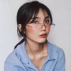 """and this piece is called """"What Up, I'm Dana, I'm And I Never Learned How To Read"""" (aka i took too many photos that day so pls bear wt me) / vera specs in silver from ! Ulzzang Korean Girl, Cute Korean Girl, Selfie Tips, Selfie Poses, Light Blue Aesthetic, Aesthetic Girl, Filipina Beauty, Western Girl, Uzzlang Girl"""