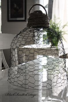 hand made cloche from chicken wire
