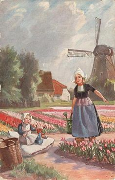 woman carries watering can, young child plays with doll on large white cushion, many tulips,windmill back on right - TuckDB Postcards Holland Windmills, Old Windmills, Holland Michigan Tulip Festival, Dutch Netherlands, Scandinavian Folk Art, Painting People, Delft, Beautiful Paintings, Vintage Postcards