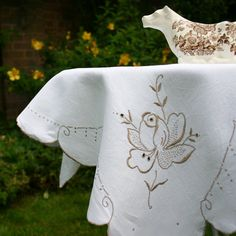 Pretty Tablecloth in Ivory Linen with Pale Coffee Madeira Embroidery