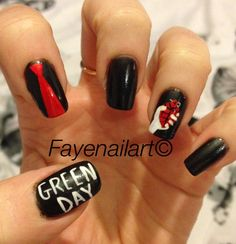 View St jimmy nail art by Fayenailart on Nailsome. Band Nails, Rock Nails, Gold Manicure, Manicure Y Pedicure, Green Day, Emo Nail Art, Jimmy Nail, Cute Nails, Pretty Nails