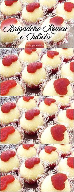 Uma das inovações criadas com esse doce foi o brigadeiro de Romeu e Julieta, sendo comercializado como uma nova forma de apreciar essa deliciosa sobremesa. Quer aprender? CLIQUE NA IMAGEM e veja como fazer. #brigadeiro #docinhos #gourmet #romeuejulieta #sobremesa #receitas #receitadodia Cupcakes, Biscuits, Cake Decorating, Food Photography, Cheesecake, Make It Yourself, Cooking, Sweet, Desserts