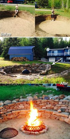 #4. DIY stone fire pit with ample seating.