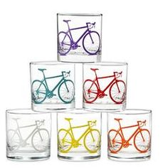 Bicycle Glasses - Set of 8  $75.00: I love these dishwasher safe tumblers. A perfect for all of the biking enthusiasts in my life! (Also a 2012 Giftees Award Winner!) #pintowinGifts  @Gifts.com