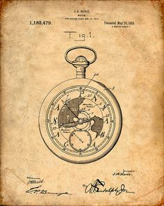 Patent Print of a Pocket Watch Patent Art Print by VisualDesign, $6.95