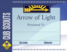 Printable Arrow of Light Certificate Template - Cub Scout Ideas