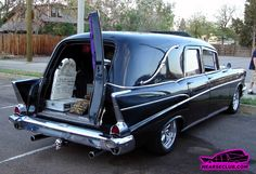 1957 Chevy Hearse! Should have never put in a sun roof, ruined the originality. :( But cool otherwise.