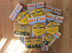 Minion cookies at a Despicable Me birthday party!  See more party planning ideas at CatchMyParty.com!
