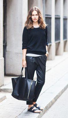 Black on black separates with Birkenstock sandals.