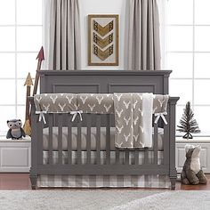 Create A Modern Rustic Nursery With Liz And Roos Buck Woodland Crib Bedding The Soothing