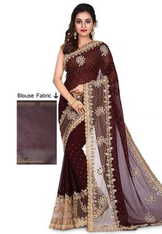Buy Brown Georgette Hand Work Saree With Blouse 167334 with blouse online at lowest price from vast collection of sarees at Indianclothstore.com.