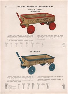 1924 Mengel Playthings Trail-O-Wagon Wooden Vintage Toy Catalog Advertisement.