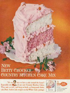 1960 Betty Crocker White Cake Mix Ad Pink Azalea Cake Photo Vintage Advertising Art Print Country Kitchen Bakery Decor