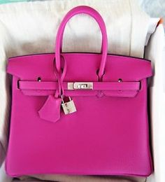 NEW Authentic HERMES Rose Pourpre Pink Birkin tote bag 25cm Togo PHW Purple 5b0b69575d