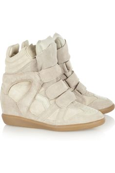 Isabel Marant | Bekkett suede and leather high-top wedge sneakers   Im getting the courage to fork up the money for these amazing wedge sneakers! Have tried them on about 6 times...Soooo COMFY!