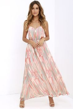 Like a refreshing scoop of sorbet, the Jack by BB Dakota Hildy Peach Print Maxi Dress is here to revitalize! Georgette fabric (with a peach, coral, and sage green print) begins at a princess-seamed triangle bodice with adjustable spaghetti straps, V back and horizontal strap accent. Maxi skirt falls from a cinched elastic waistband.