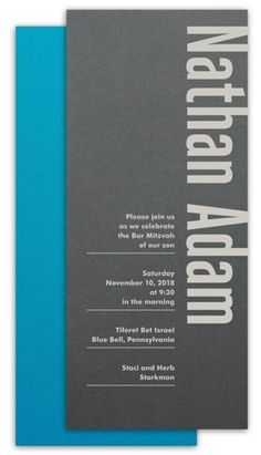 Two-Sided Blue, Gray, and Silver Bar Mitzvah Invitation by Luscious Verde Cards … 40th Birthday Invitations, Bar Mitzvah Invitations, Sweet 16 Invitations, Party Invitations, Bar Mitzvah Party, Bat Mitzvah, Wedding Invitation Design, Wedding Stationery, Marriage Cards