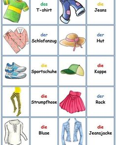 Games in German class: Memory – clothes and accessories - Kinderbetreuung German Grammar, German Words, German Resources, Deutsch Language, Learn Arabic Alphabet, German Language Learning, Learn German, Busy Book, How To Memorize Things