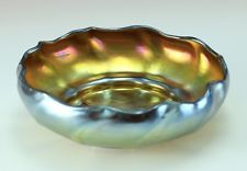 L.C. Tiffany Favrile Gold Iridescent  Art Glass Bowl c 1900 Signed