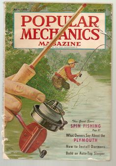 May 1953 Popular Mechanics Magazine introducing the art of spinfishing. Vintage Fishing Lures, Fishing Reels, Bass Fishing, Fishing Stuff, Fishing Tackle, Fishing Signs, Outdoor Magazine, Image Of Fish, Fishing Magazines