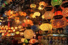 Istanbul Grand Bazaar by samirdiwan, via Flickr/  Wonderful colours and beautiful lights