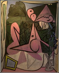 Picasso Pablo - Nu au bouquet d'iris et au miroir Picasso Cubism, Picasso Paintings, Oil Paintings, Cubist Movement, Spanish Painters, Creative Icon, Art Moderne, Trinidad, Modern Art