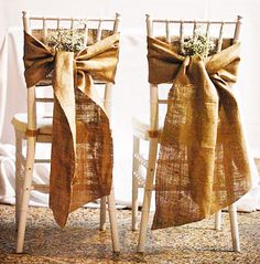 Burlap Chair Bows. For more ideas on decorating with burlap, go to http://decoratingfiles.com/2012/08/15-ways-to-decorate-with-burlap/