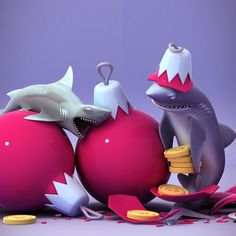 NOM NOM you can't eat baubles. Except in Hungry Shark! Future Games, Ocean Creatures, Shark, Evolution, Sculpting, Nom Nom, Universe, Christmas Ornaments, Holiday Decor
