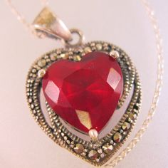 $32.00 Vintage Art Deco Style Marcasite Sterling Silver Red Heart Stone Pendant Necklace Jewelry Jewellery by BrightEyesTreasures on Etsy