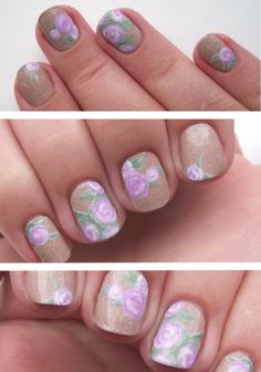 Spring floral nails pastel painting