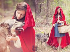 Pin for Later: How to Throw a Fairy-Tale Wedding Fit For a Princess Little Red Riding Hood and Her Wolf Source: Three Nails Photography via Green Wedding Shoes Halloween Costumes For Teens, Halloween 2014, Diy Costumes, Costume Ideas, Halloween Ideas, Chien Halloween, Dog Halloween, Halloween Makeup, Halloween Stuff