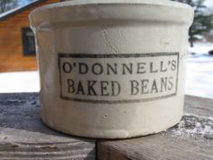 Red Wing Stoneware 1 Pound Butter Crock with O'Donnell's Baked Beans Advertising Red Wing Stoneware, Stoneware Crocks, Earthenware, Butter Crock, Old Crocks, Churning Butter, 1 Pound, Canning Jars, Baked Beans