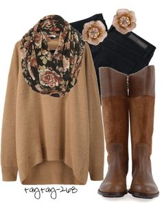 Black, Brown  Floral perfect fall look