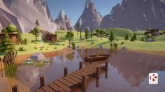 Low Poly Mountain Pack with Cabin Theme Mountain Environment Concept Art, Environment Design, Gfx Design, Low Poly Games, Polygon Art, Low Poly 3d Models, Cg Art, Anime Scenery, 3d Max