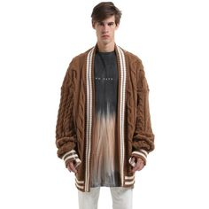 Danilo Paura Men Oversized Wool Blend Knit Cardigan (11.215.910 IDR) ❤ liked on Polyvore featuring men's fashion, men's clothing, men's sweaters, camel, mens knit sweater, mens oversized sweaters, mens sweaters, mens cardigan sweaters and mens cable sweater