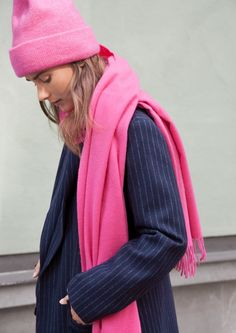 & Other Stories image 1 of Oversized Wool Scarf in Pink
